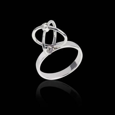 Bague de fiançailles diamant 0,5 carat or blanc Cage