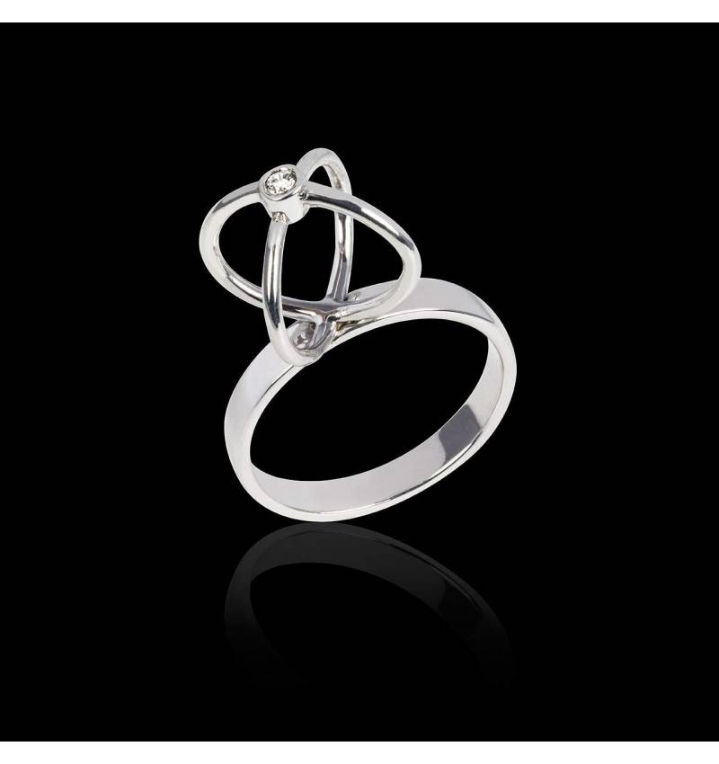 Bague diamant or blanc Cage