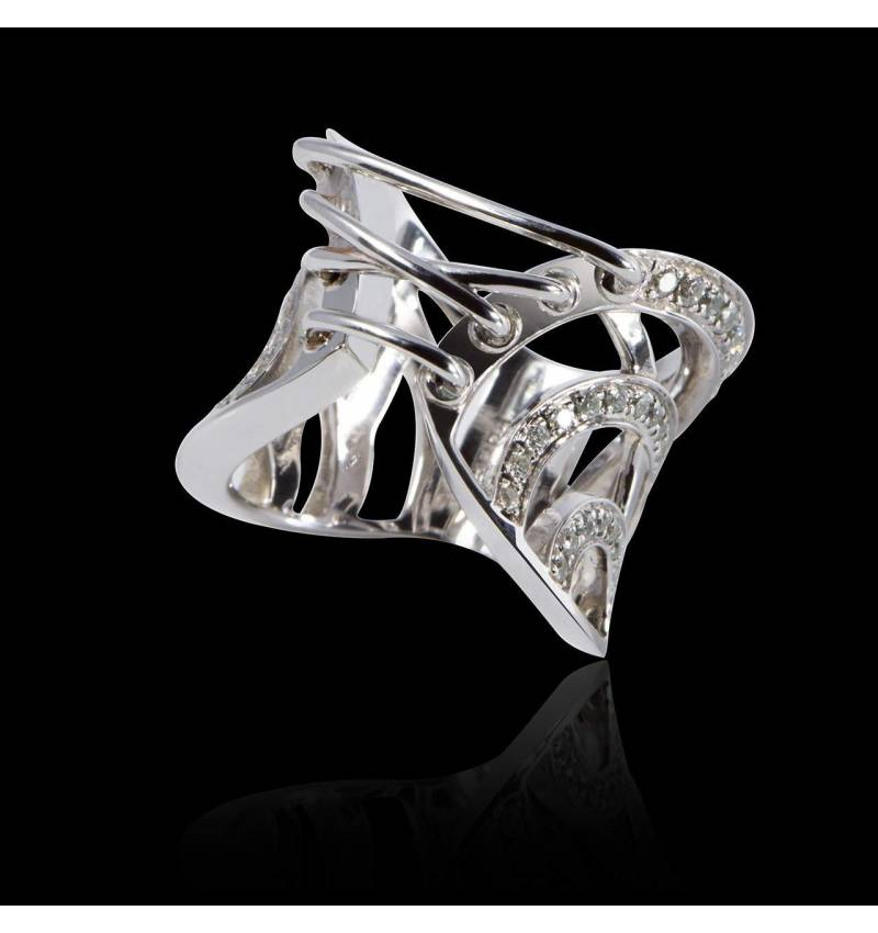 Bague de fiançailles diamant 0,5 carat or blanc Guêpière