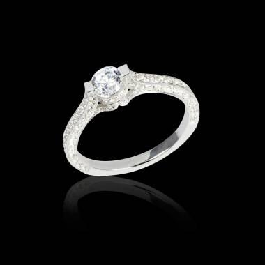 Bague de fiançailles diamant pavage diamant or blanc Mount Olympus