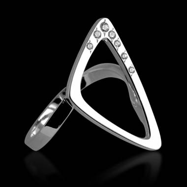 Bague de fiançailles diamant 0,5 carat or blanc Triangle