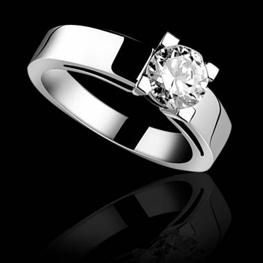 Solitaire diamant or blanc Céline