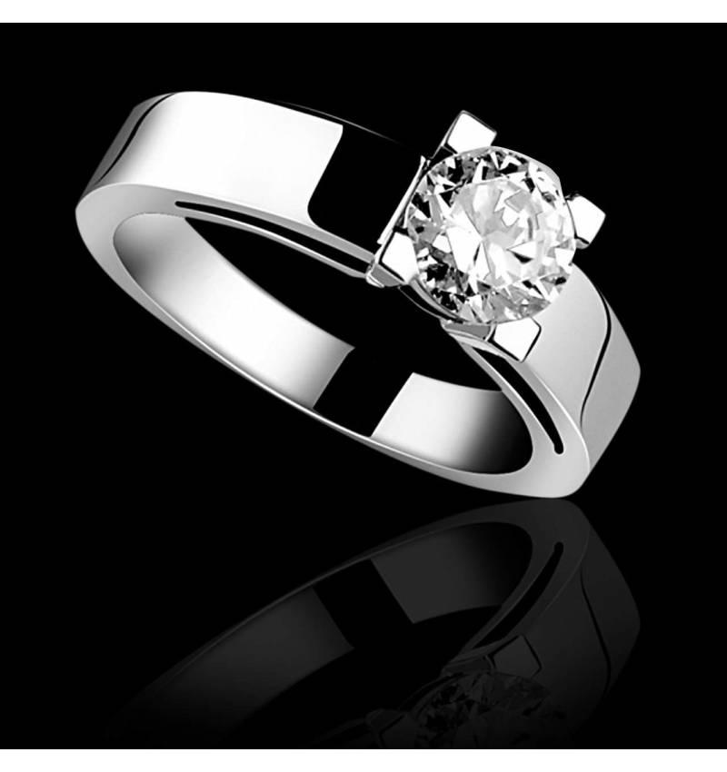 Bague de fiançailles diamant or blanc Céline