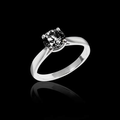 Bague solitaire diamant noir or blanc Angela solo