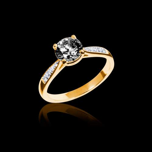 Bague solitaire diamant noir or jaune Angela