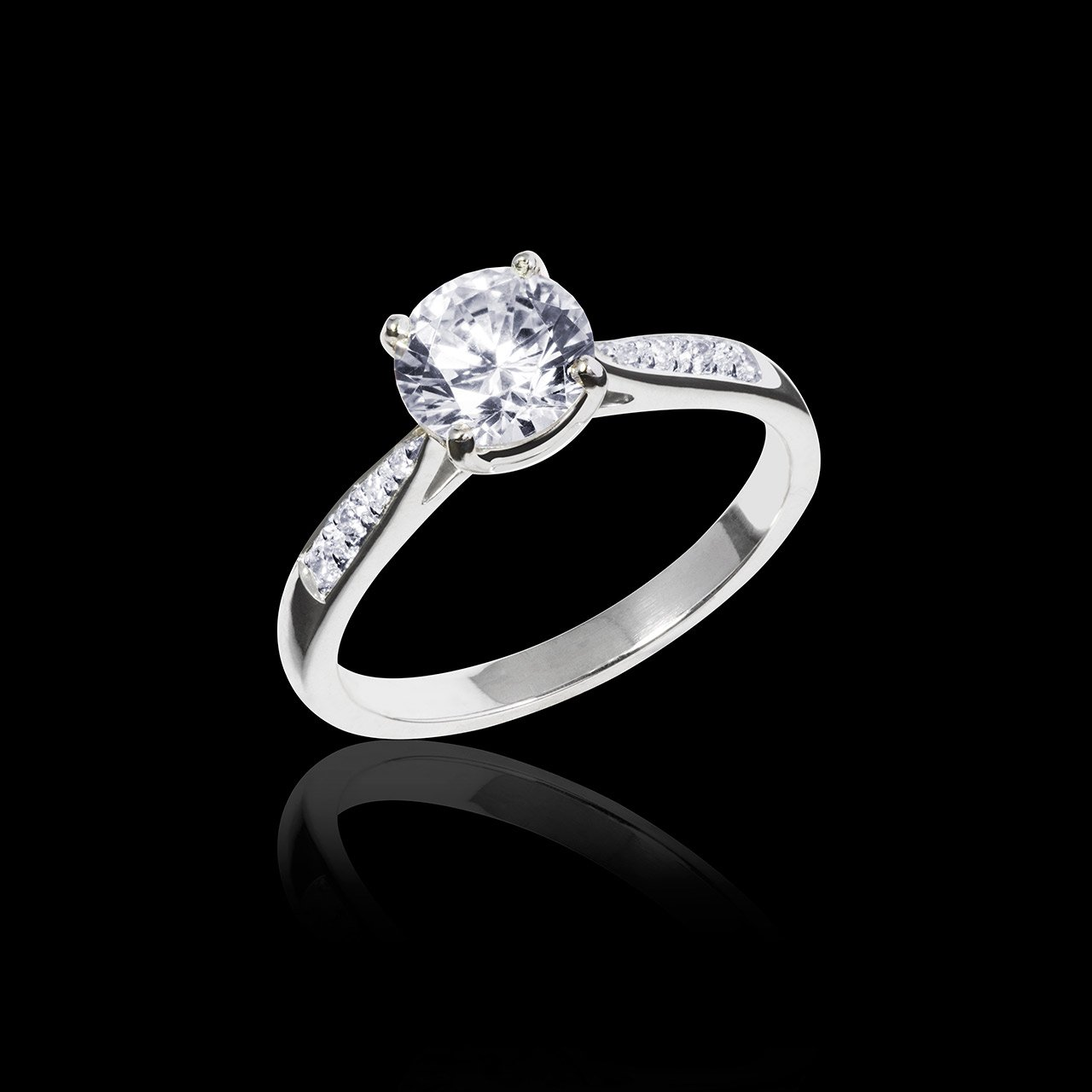 Bague solitaire diamant or blanc Angela