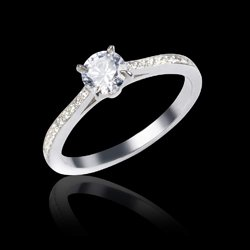 Bague solitaire diamant or blanc Elodie