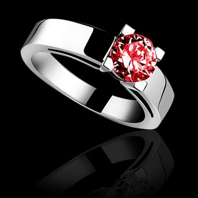 Bague solitaire rubis or rose Celine