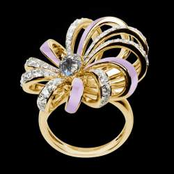 Diamond ring Dahlia - Pave Diamonds - Lavender Lacquer