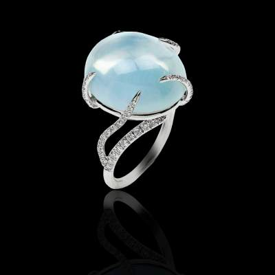 Diamond ring white gold Moon stone -Jaubalet
