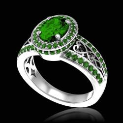 Emerald Ring _White Gold_ Pave Emeralds _Tsarine Ring