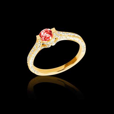 Ruby Ring - Yellow Gold - Pave Diamonds - Mont Olympus