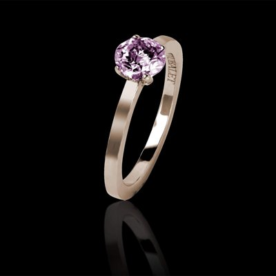 Solitaire Saphir Rose Rond - Or Rose - Bague Judith Solo - Jaubalet
