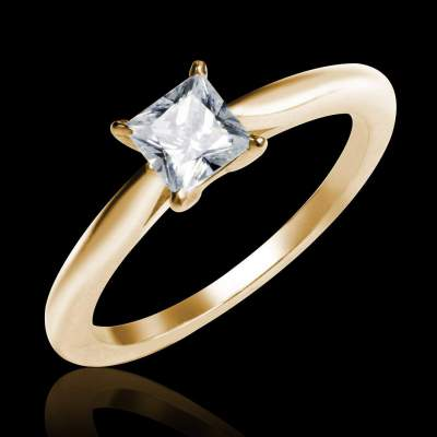 Square diamond ring yellow gold My love -Jaubalet