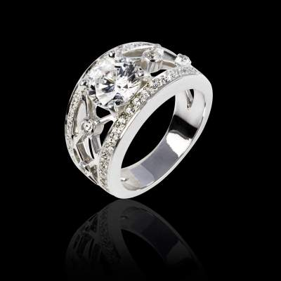 Diamond Ring_White Gold_Pave Diamonds_Regina Suprema_Jaubalet