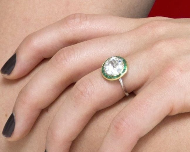 Olivia Wilde's Emerald and Diamond Engagement Ring