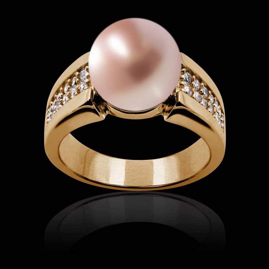Aya Pink Pearl Engagement Ring