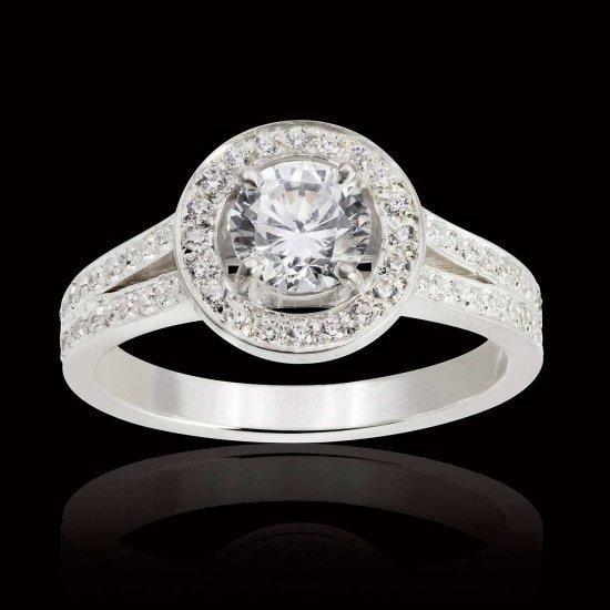Hidden Halo ring in white gold