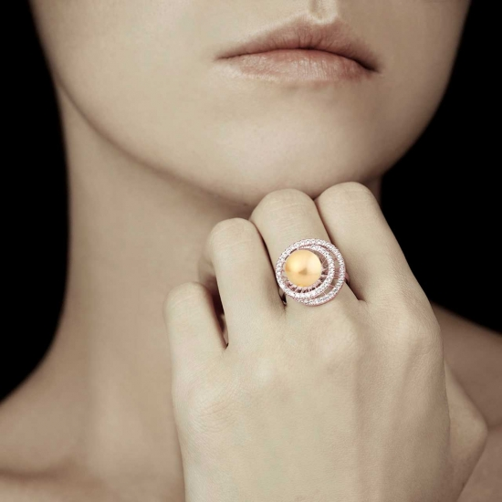 CORINNE GOLD PEARL ENGAGEMENT RING