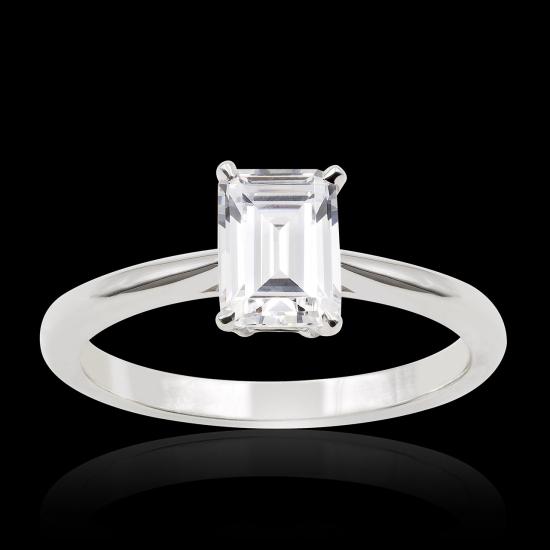 Emerald cut diamond paving ring
