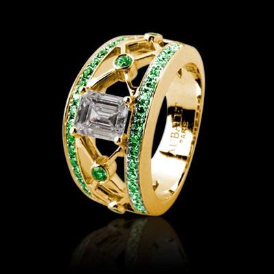 Emerald cut emerald paving ring