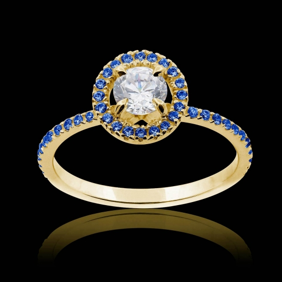 Hidden Halo blue sapphire ring in yellow gold