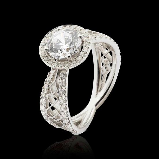 hidden halo diamond paving ring