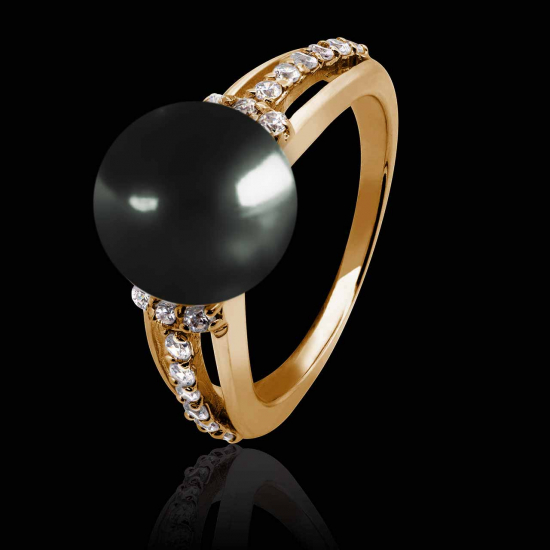 MELINA BLACK TAHITI PEARL ENGAGEMENT RING