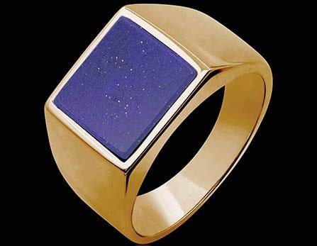 Chevalière  or rose lapis lazuli Adam
