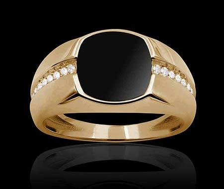 Chevaliere or rose onyx diamant Maximin