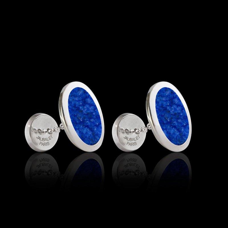 boutons/boutons de manchette chevaliere_or blanc_ovum-lapis-lazuli