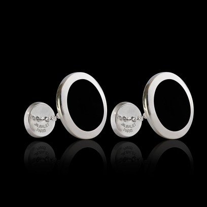 boutons manchette sur mesure argent palladié chevaliere ovalis onyx