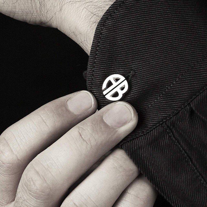 boutons manchette sur mesure or blanc initiales