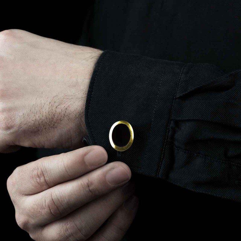 boutons manchette sur mesure or jaune vermeil chevaliere ovalis onyx