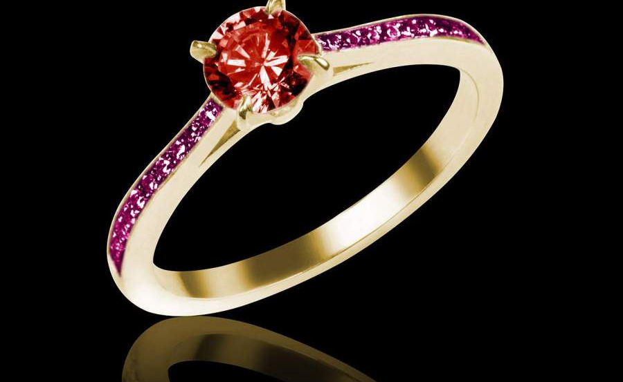Bague solitaire rubis or rose